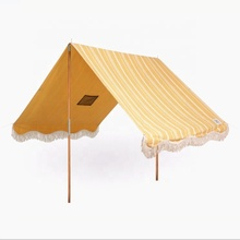 New design UV 50 cotton material sunshade Beach <strong>tent</strong> with wooden poles
