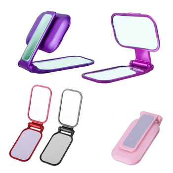 Giveaway special design cheap travel pocket portable ABS plastic metallic rectangle swivel make up fold table cosmet mirror