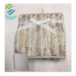 Gold color glue emboss double layer pv and sherpa special pretty soft baby boy blankets