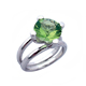 Fashion jewelry silver green diamond single stone ring designs