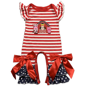 Soft Baby Cotton Romper Adorable Infant Girls Red Stripe Ruffle Rompers