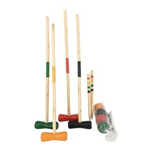 4 Player Wooden Croquet Set, Classic Outdoor Lawn and Party Game For Kids & Adult