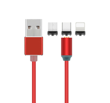 <strong>3</strong> In 1 Nylon 2.4A Quick Micro Type C Devices LED Magnetic USB Charging Cable