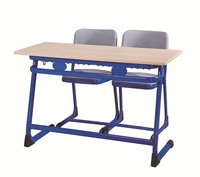 PP Injection Edge School Table Fixed Double Desk & Chair