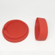 Outer dia 9.5cm Moon Shape Red Reusable Silicone Lid With Silicone Cup Sleeve Set