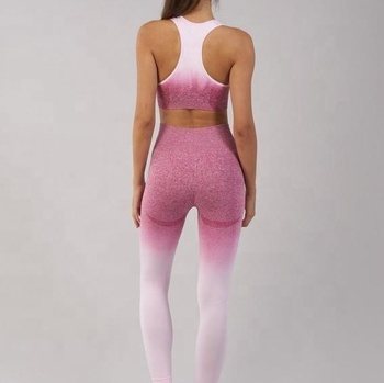 Fashion Sexy Activewear Gradient Seamless Bra And Ombre Leggings Women Yoga Fitness Set