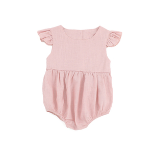 flutter sleeve bodysuit baby fashionable clothing linen frill shortsleeve pink rompers