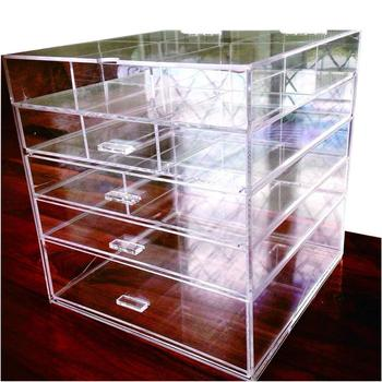 "acrylic Large Beauty Cube 5 Tier Drawers Acrylic Cosmetic Organizer Handmade Multi Function Makeup Organizer Storage10""x10""*11"""