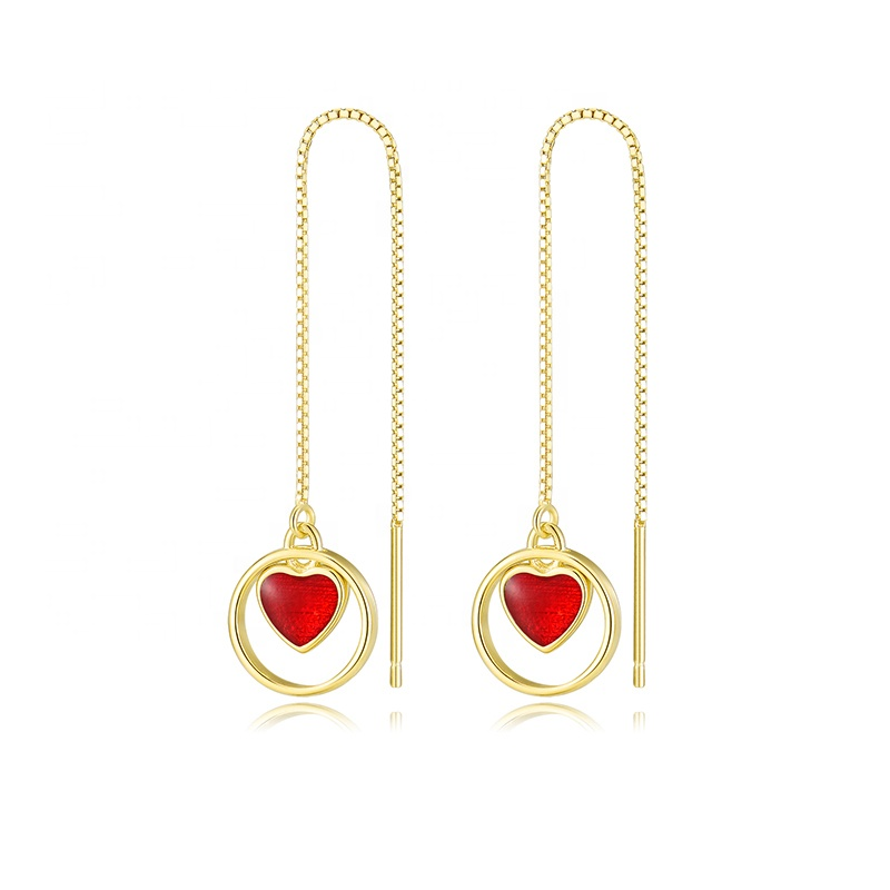FI8-<strong>X01C</strong> Fashion Sterling Silver Earring Heart Chain Wire Earrings Wholesale