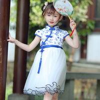 Chinese style kid clothing girls printed party dress toddler girl short sleeve mesh summer dresses