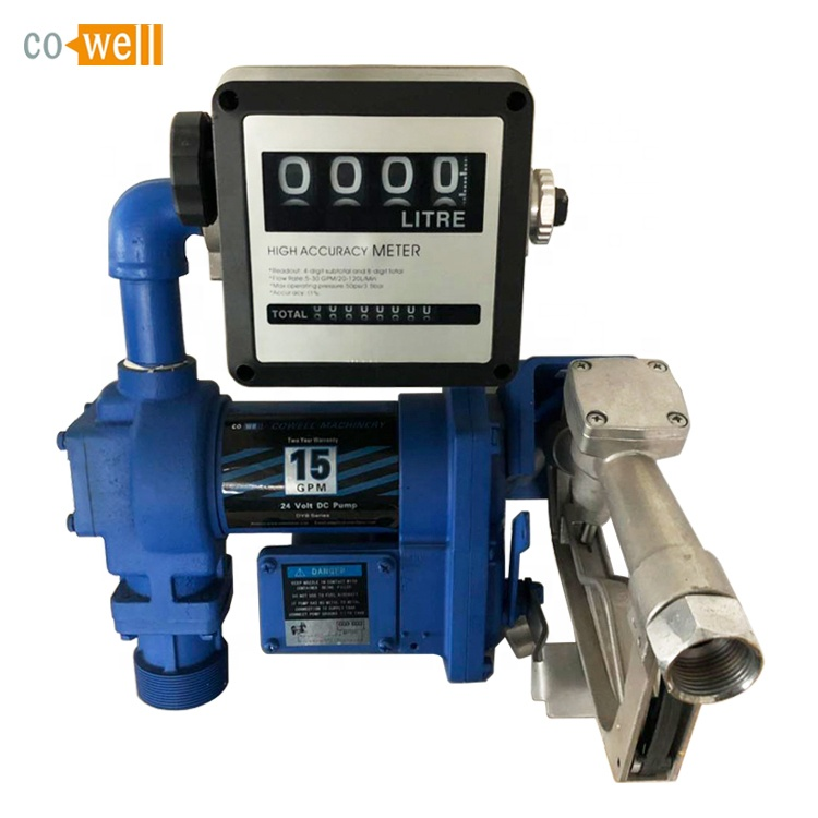 12v Electric Oil Fuel Bio Diesel Gas Transfer Pump <strong>W</strong>/ Meter + 12' Hose & Nozzle