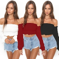KEYIDI Sexy Club Spring Summer Strap Elasticity Long Sleeve Halter Women Tube Crop Top