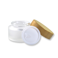 Cosmetic 5ml 15ml 30ml 50ml 100ml clear frosted <strong>glass</strong> <strong>jar</strong> with bamboo wood lid for body cream