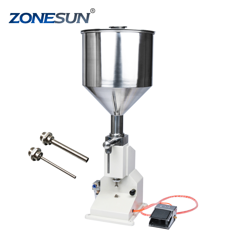 ZONESUN <strong>A02</strong> Filling Machine Stainless Steel Pneumatic Paste Liquid Filling machine 5-50ml Tank Capacity 10kg Filter