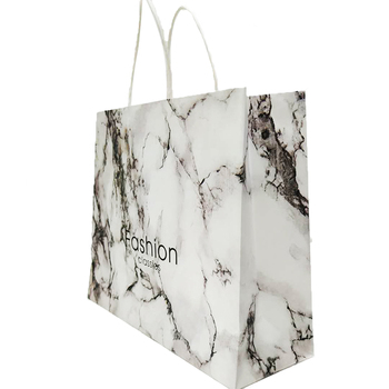Guangzhou 24 Years Factory White Handle Bulk Marble Marble Paper Bag For Gift Promotion