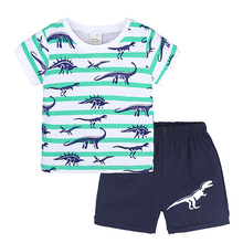 boy Dinosaur &amp; Truck print raglan shirts matching shorts <strong>children</strong> summer cartoon cloth <strong>set</strong> boy's cotton outfit