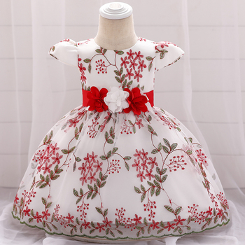 Wholesale floral prom christening baptism girl dress newborn baby girl party frock 0-2 years boutique cotton skirt L1888XZ