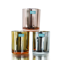 Metallic brilliant mercury tealight votive glass candle holders silver/rose gold