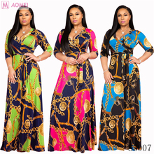 S5007 Fashion long sleeve <strong>chain</strong> printed long maxi dress women