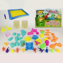 DIY play toy dinosaur set tools space magic sand kit for kids with inflatable sand tray