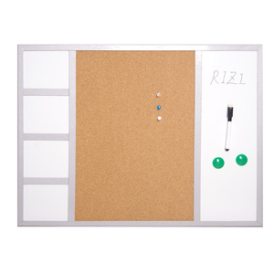 Partition magnetic pin white cork bulletin board  with wooden frame
