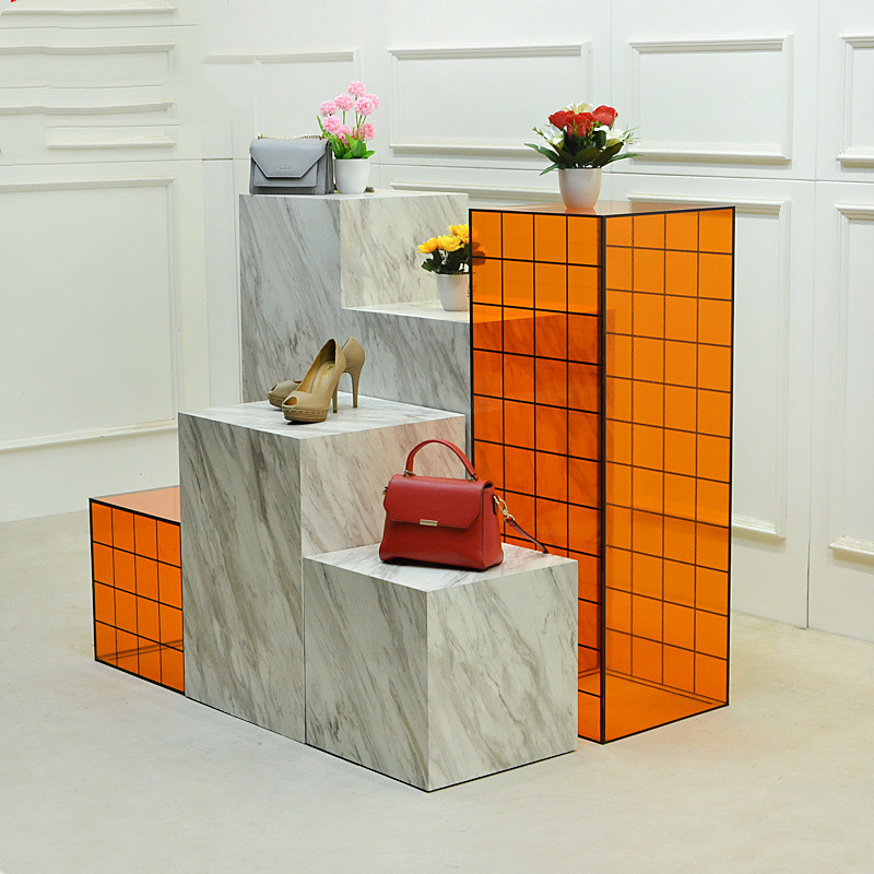 Fashion clothing store display stand acrylic clothes display table cabinet for shop store shopping mall