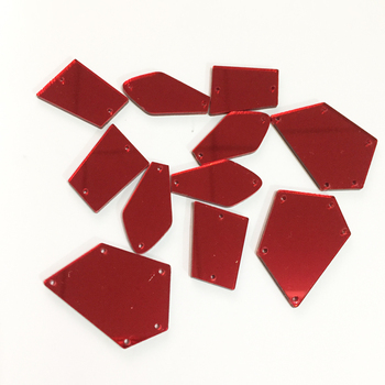 0823 Cheap Bulk Price Red Color Irregular Mirror Flat Back Acrylic Rhinestone for Sewing on Dress