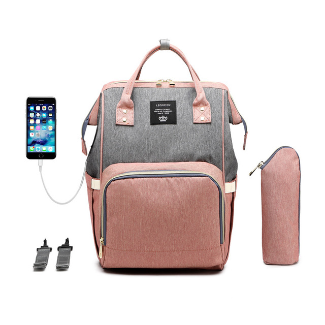 Original Lequeen baby travel bag with USB Charging port /diaper bag backpack / Baby Diaper Backpack bags