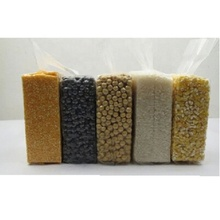 Compressed pouch seal storage vacuum bags for grain