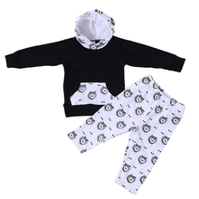 Boys 2-Pieces <strong>Set</strong> Kids Black Top With Hat &amp; Lion Print Pants <strong>Children</strong> Clothes <strong>Set</strong>