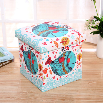 Top Selling PVC Printed Reused Lovely Kids Storage Ottoman Stool