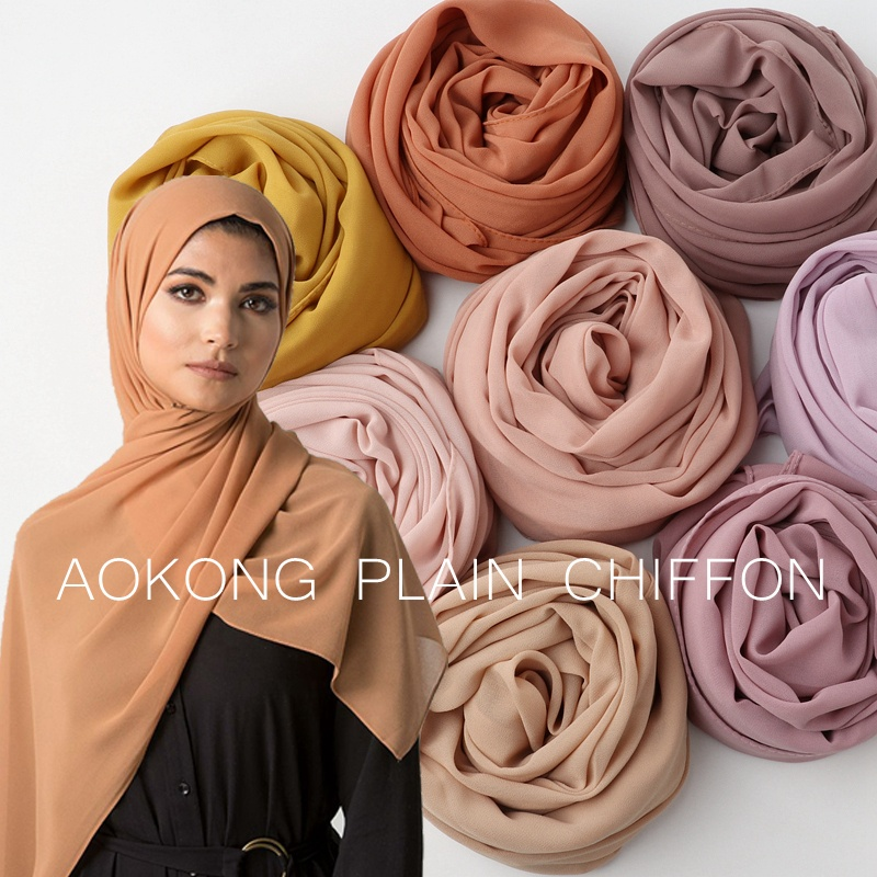 Hot sale high quality 82 colors women islam malaysia georgette scarf stylish muslim hijabs solid plain bubble chiffon hijab
