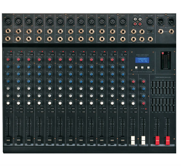 Professional 16 channel digital powered audio mixing console with SMT technology