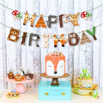 HUANCAI Woodland Creatures Party Decorations HAPPY BIRTHDAY party Banner for kids woodland birthday Party Supplies