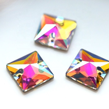 1220W Dancing wear decoration Square flat back crystal beads AB rhinestone sewing with two holes
