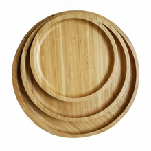 Eco 100% natural solid round bamboo dish dinner serving <strong>plate</strong> manufacture