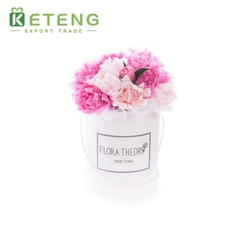 Luxury creative round hat cardboard tube flower box with gold stamping