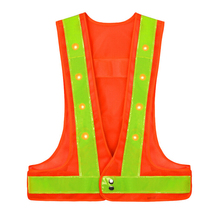Hi Vis Flashing Reflective Cycling Running Jogging Light <strong>Safety</strong> LED Vest with Hook&amp;Loop