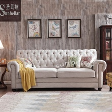 import <strong>furniture</strong> from China foshan living room sofa fabric chesterfield handmade tuffted back and arm