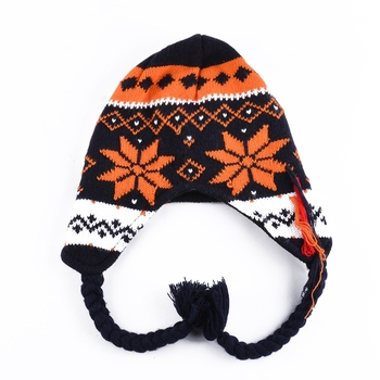 Factory price customized coloful 100% cotton snowflake winter women beanies earflap