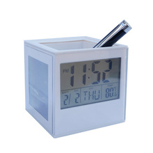 BolerGifts Cube Shaped Desktop Penholder with Calendar Alarm Clock Thermometer and Photo Frame