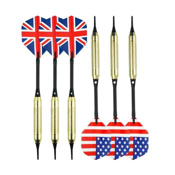 6 Packs Plastic Tip Darts Set Soft Tip Darts for Electronic Dartboard - Aluminum Shafts, Flights, Brass Barrels, Extra Tips