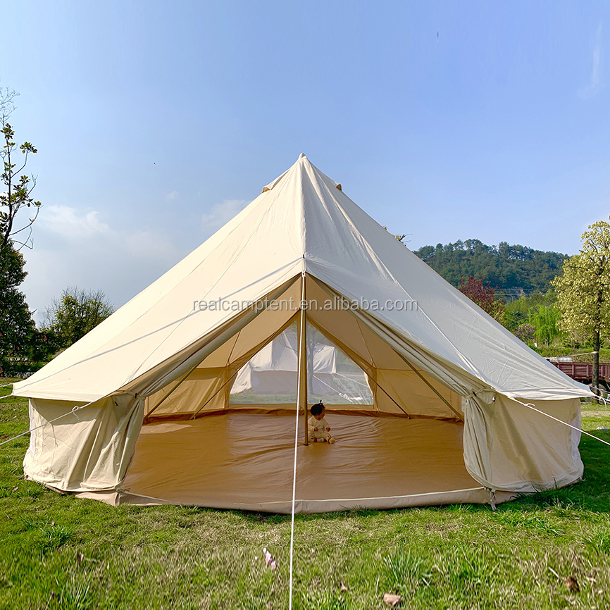 Heavy duty cotton canvas bell tent uk luxury glamping tent