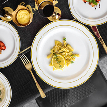Gold rim dinnerware high grade hotel used porcelain charger <strong>plates</strong> for weddings