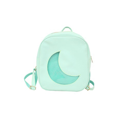 Custom Fashion Holographic PU Leather School Student Girls Transparent PVC Half Moon Clear Window Backpack Ita <strong>Bag</strong> 2019
