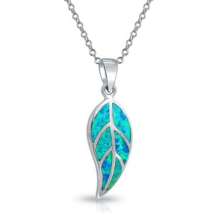 Sealife Style 925 Sterling Silver Gemstone Jewelry Blue Opal Leaf Pendant For Girls