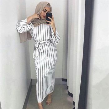 2019 Adult Hijab Abaya Fashion White Stripe Sashes Long Muslim Dress Islamic Clothing for Women Turkish Robe Dubai Kaftan Oman