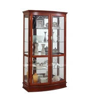 Kent curve door glass curio cabinet with led lights and lock