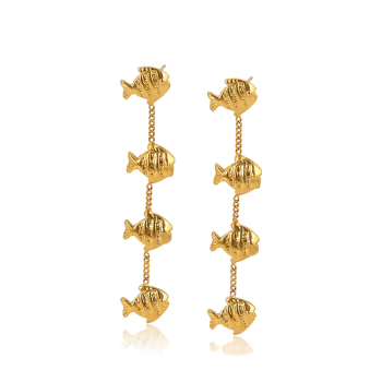 98041 xuping jewelry gold earring gold dangling earring for women 24k dubai fish shaped elegant earring jewelry