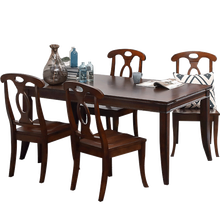 2048-16 solid wood base and topframe templed glass hands carving edge NC finisng dining table
